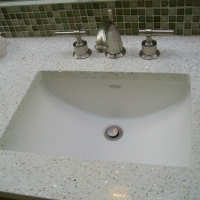 Icestone top, glass backsplash