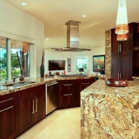 Kitchen after; waterfall granite