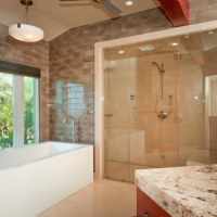 Steam shower, soaking tub