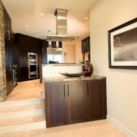 Slate wall, cabinets