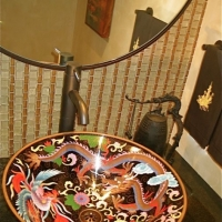 Cloisonne dragon sink
